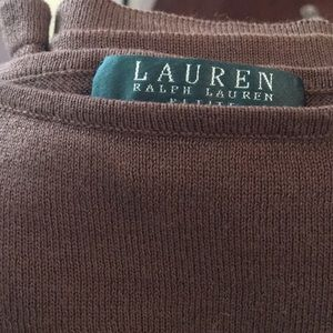 Ralph Lauren 3/4 sleeve brown silky look top.